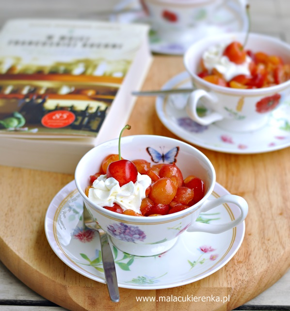 """Czereśnie Sauté i książka """"W mojej francuskiej kuchni"""""""