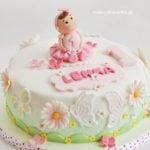 Wiosenny tort w stokrotki i motyle
