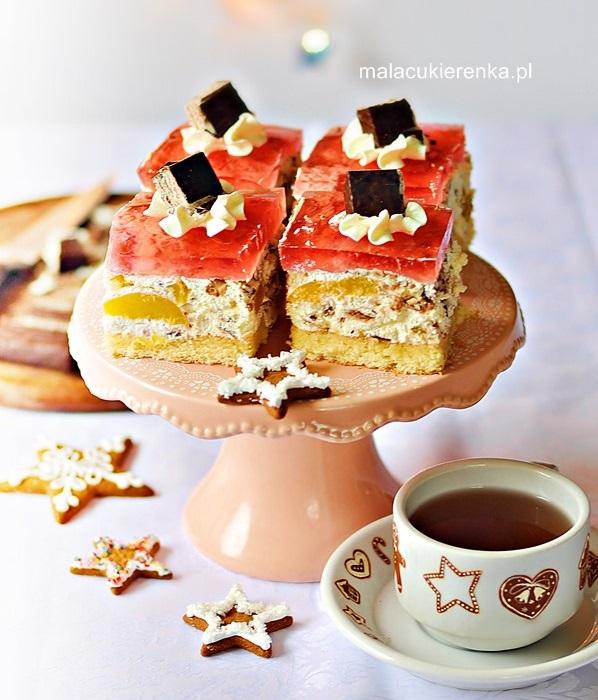 Ciasto PRINCE POLO z brzoskwiniami i galaretką