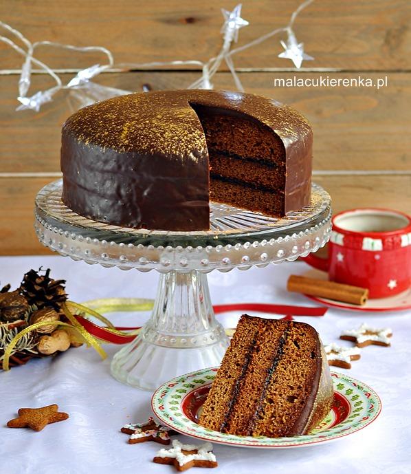 Łatwy piernik z powidłami i polewą czekoladową