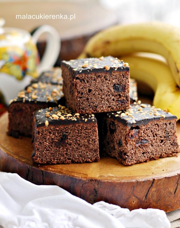 Ciasto bananowe z polewą bez glutenu, bez cukru, wegańskie
