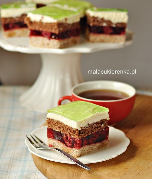 Ciasto WIŚNIOWIEC z kremem cytrynowym i galaretką