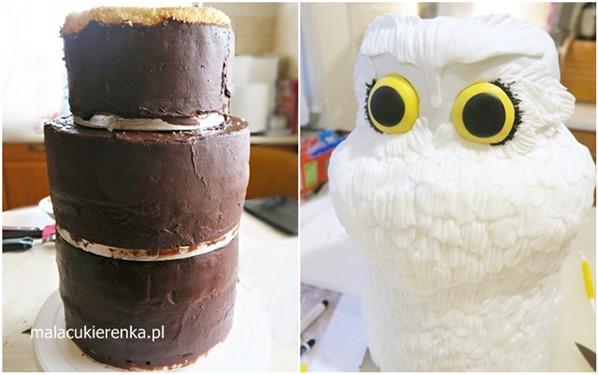 Tort w kształcie sowy 3D