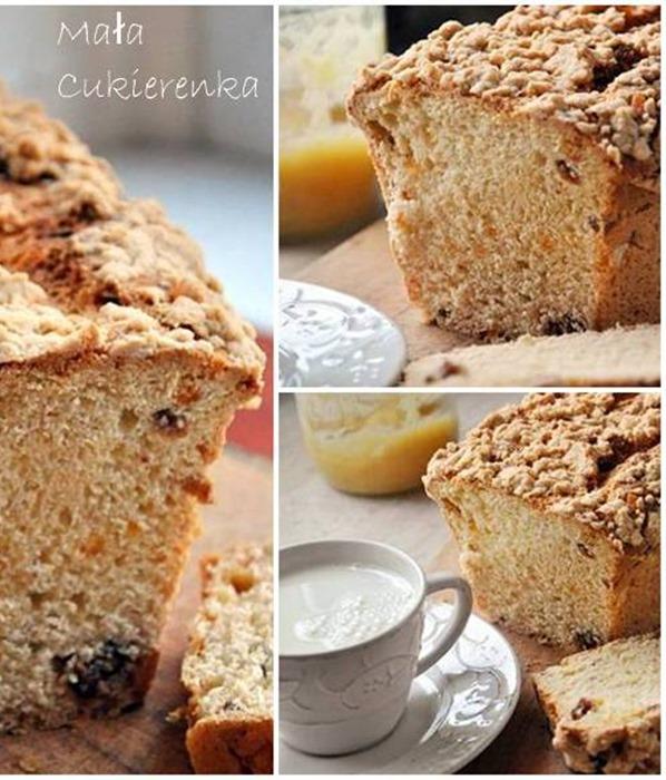 Śniadaniowa babka drożdżowa z kruszonką - Bardzo smaczna babka drożdżowa z rodzynkami i skórką pomarańczową. Delikatna, nie za słodka, ładnie się kroi. Obłędnie