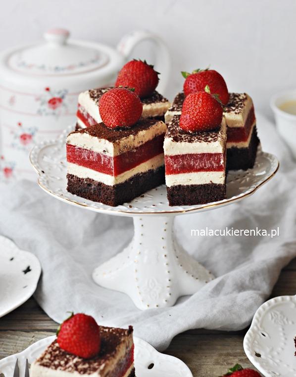 Ciasto z TRUSKAWKAMI i pianką cappuccino