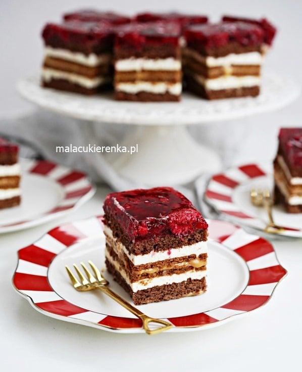 Ciasto MALINOWA KSIĘŻNICZKA z masą krówkową