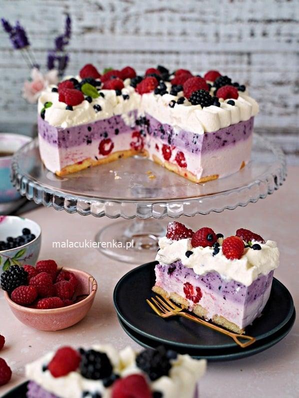 Tort bez pieczenia Pyszne LATO z jagodami i malinami